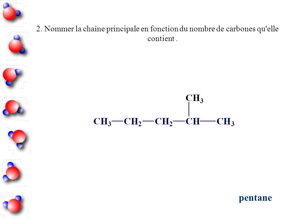 2. Nommer la chaîne principale en fonction du nombre de carbones qu elle contient .