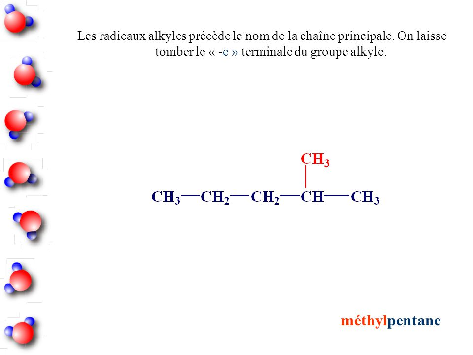 Les radicaux alkyles précède le nom de la chaîne principale