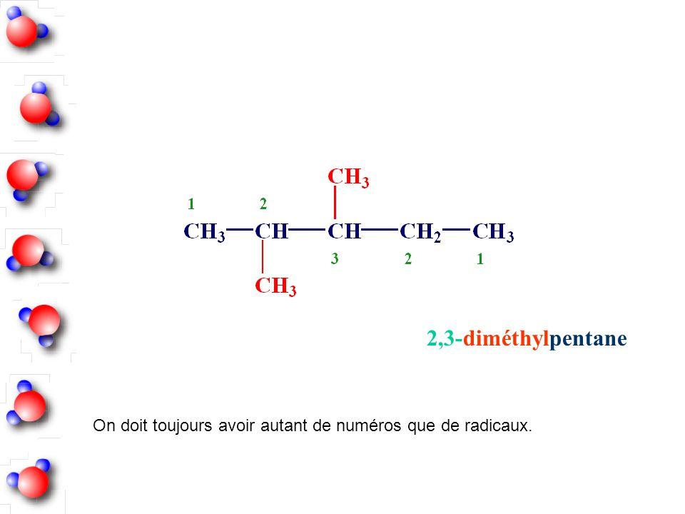 2,3-diméthylpentane On doit toujours avoir autant de numéros que de radicaux.