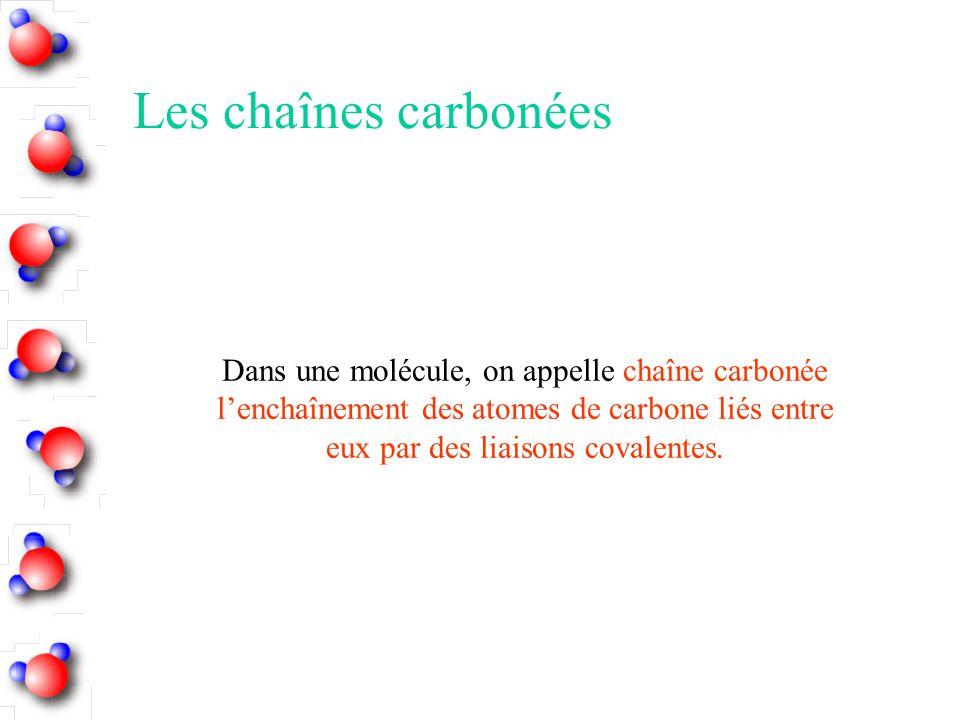 Les chaînes carbonées Dans une molécule, on appelle chaîne carbonée