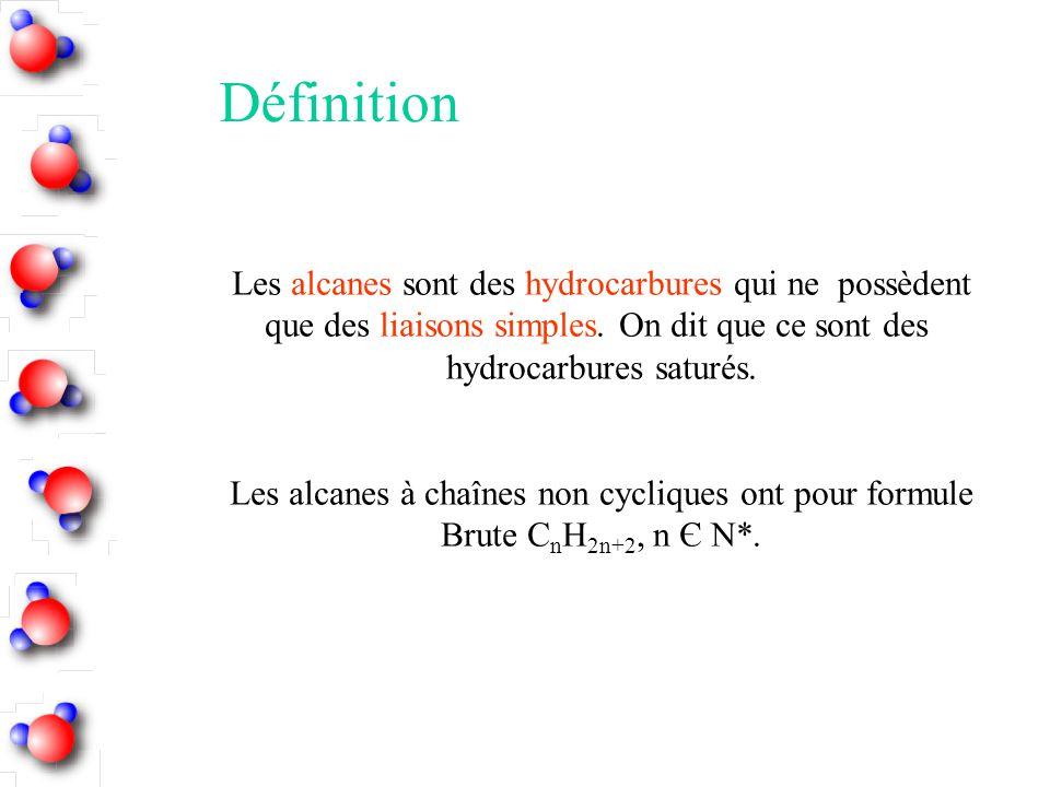 Définition Les alcanes sont des hydrocarbures qui ne possèdent