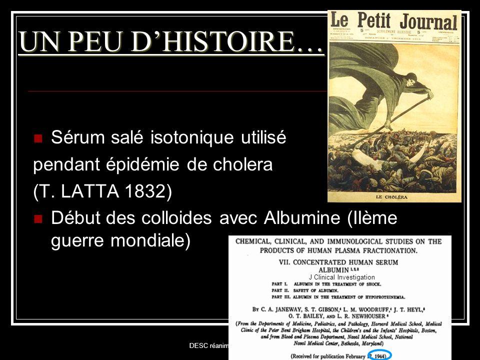 UN PEU D'HISTOIRE… Sérum salé isotonique utilisé