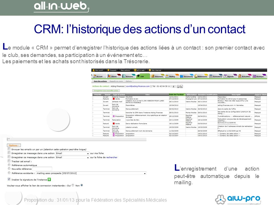 CRM: l'historique des actions d'un contact