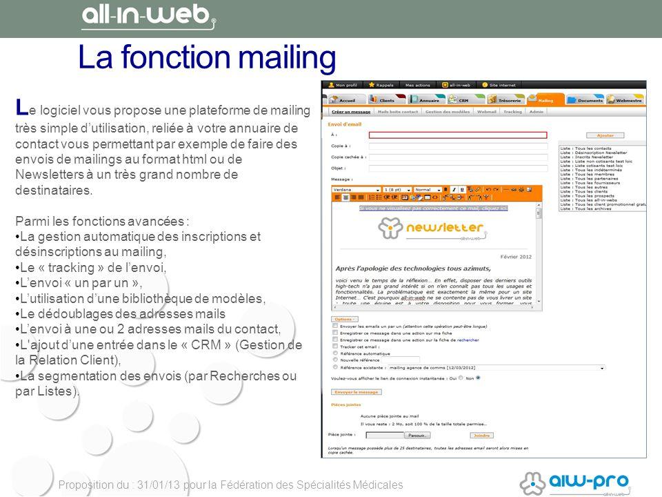 La fonction mailing