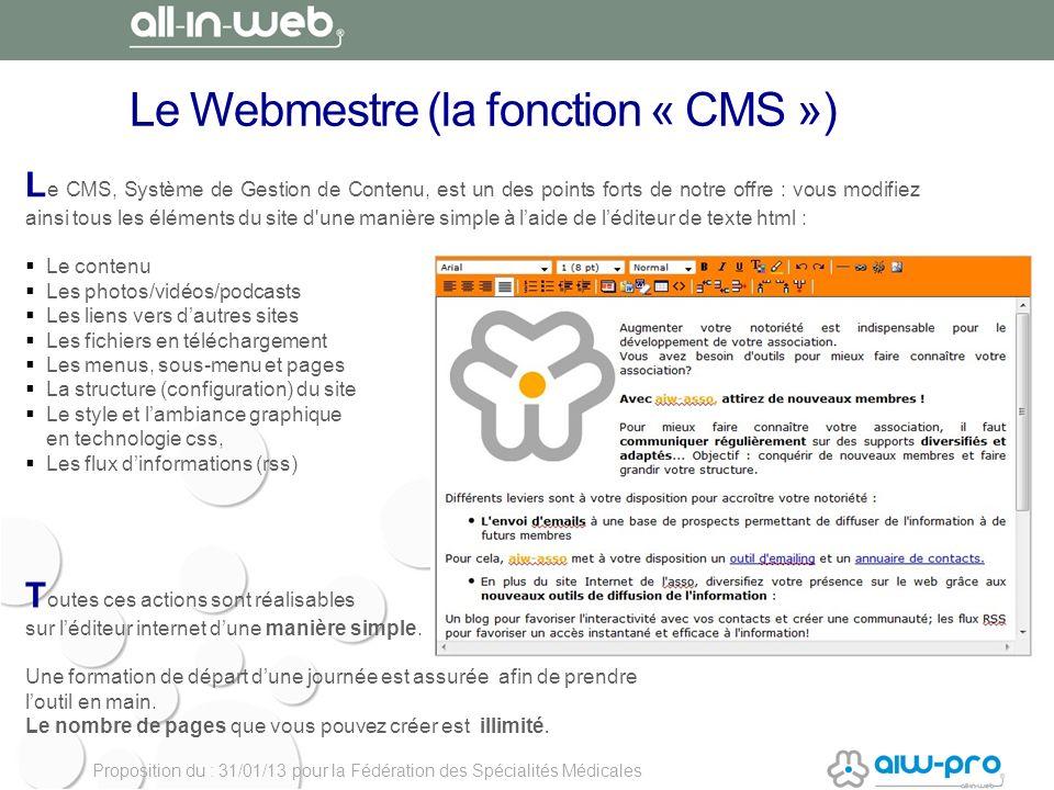 Le Webmestre (la fonction « CMS »)