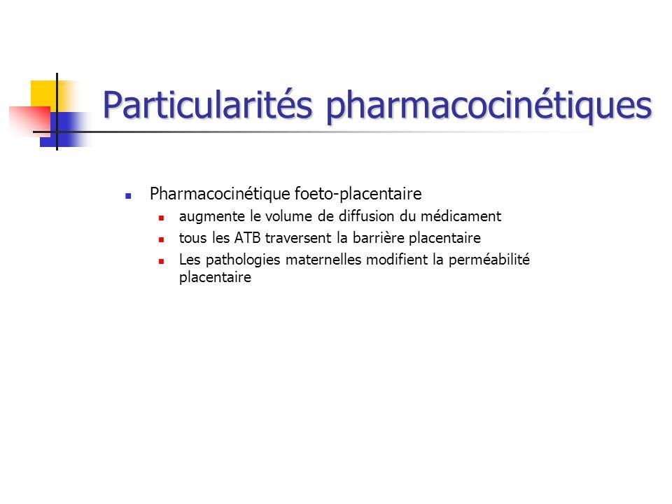 Particularités pharmacocinétiques