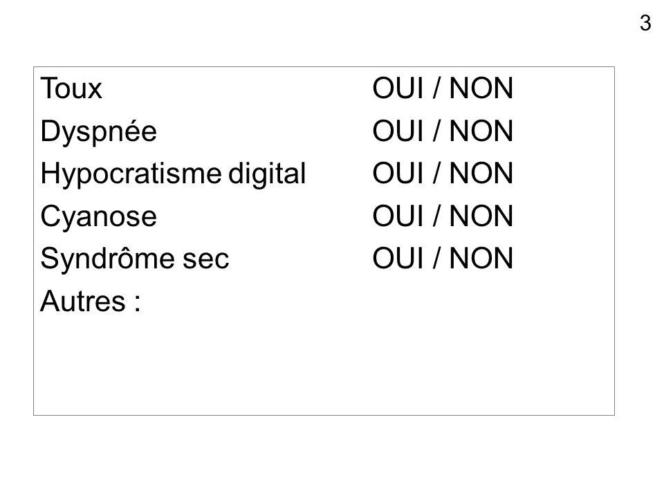 Hypocratisme digital OUI / NON Cyanose OUI / NON