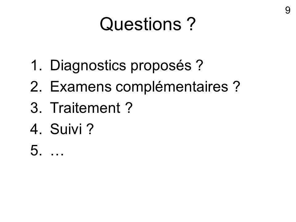 Questions Diagnostics proposés Examens complémentaires