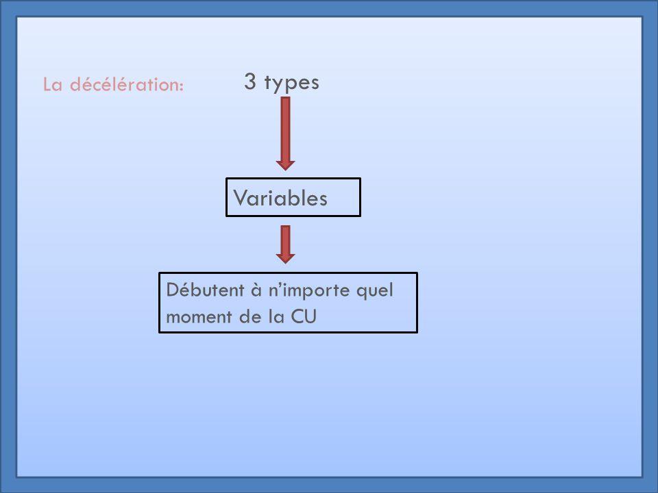 3 types Variables La décélération: