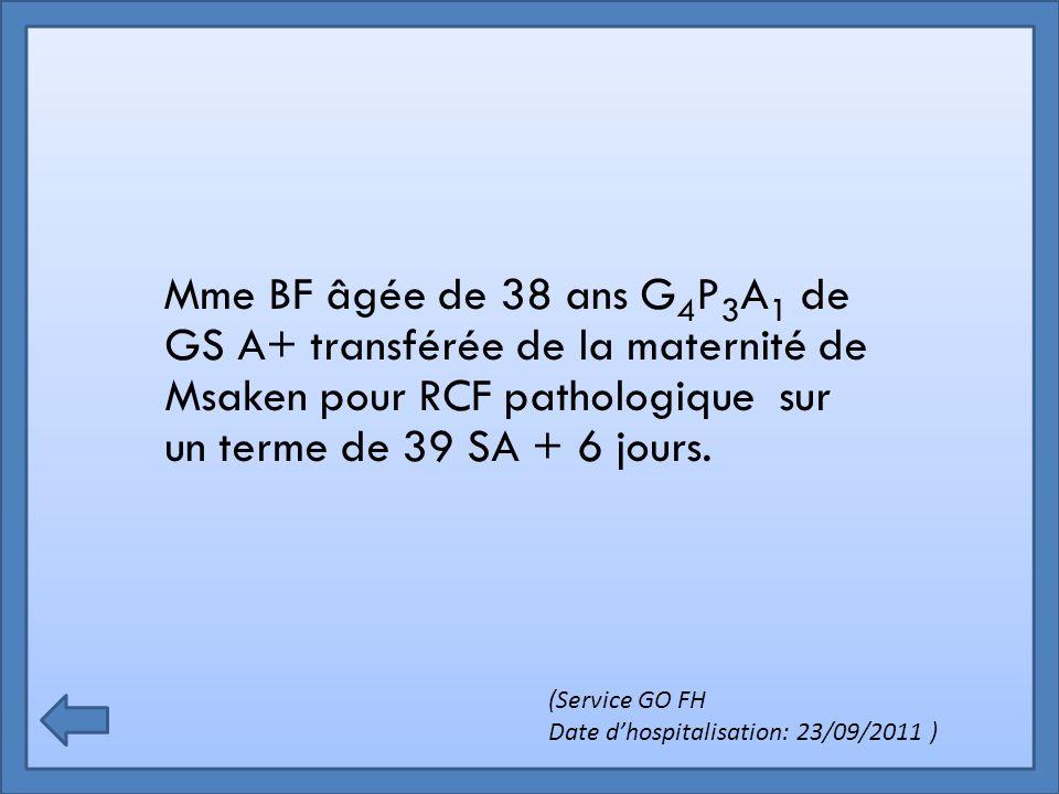 Mme BF âgée de 38 ans G4P3A1 de GS A+ transférée de la maternité de Msaken pour RCF pathologique sur un terme de 39 SA + 6 jours.
