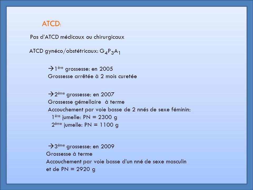ATCD: Pas d'ATCD médicaux ou chirurgicaux