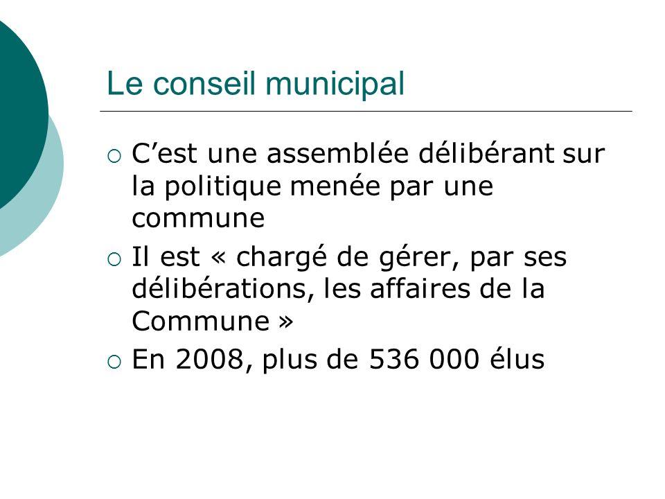 Le conseil municipal C'est une assemblée délibérant sur la politique menée par une commune.