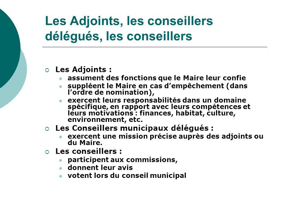 Les Adjoints, les conseillers délégués, les conseillers