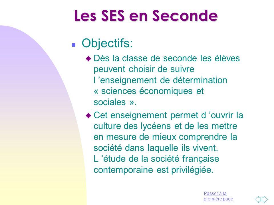 Les SES en Seconde Objectifs: