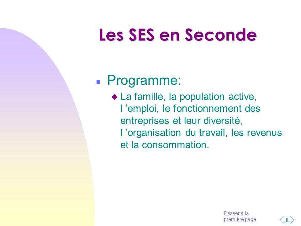Les SES en Seconde Programme: