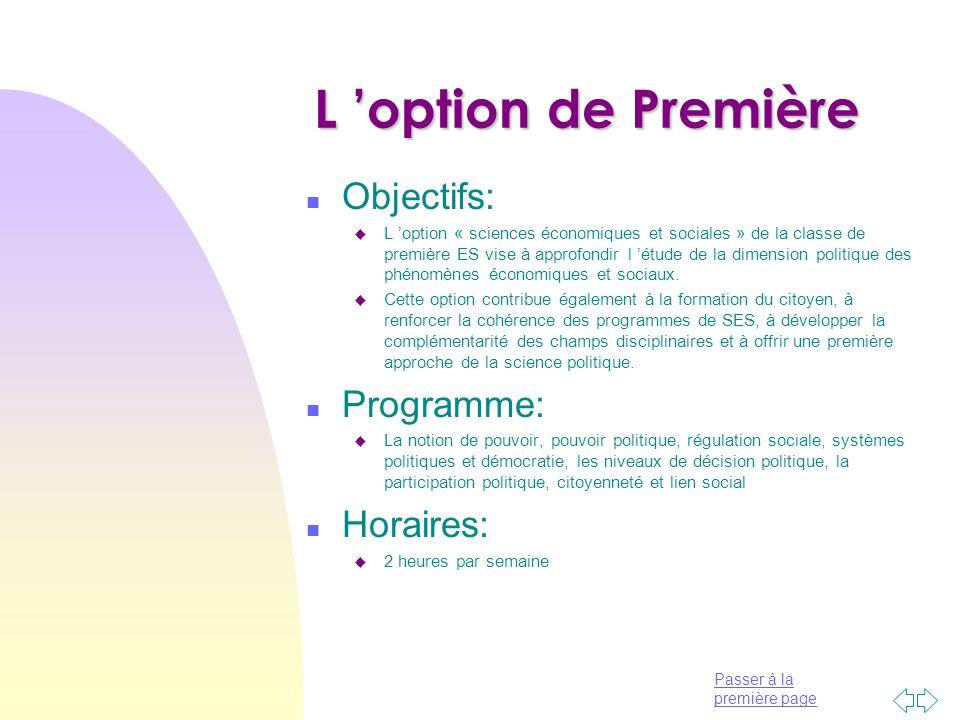 L 'option de Première Objectifs: Programme: Horaires: