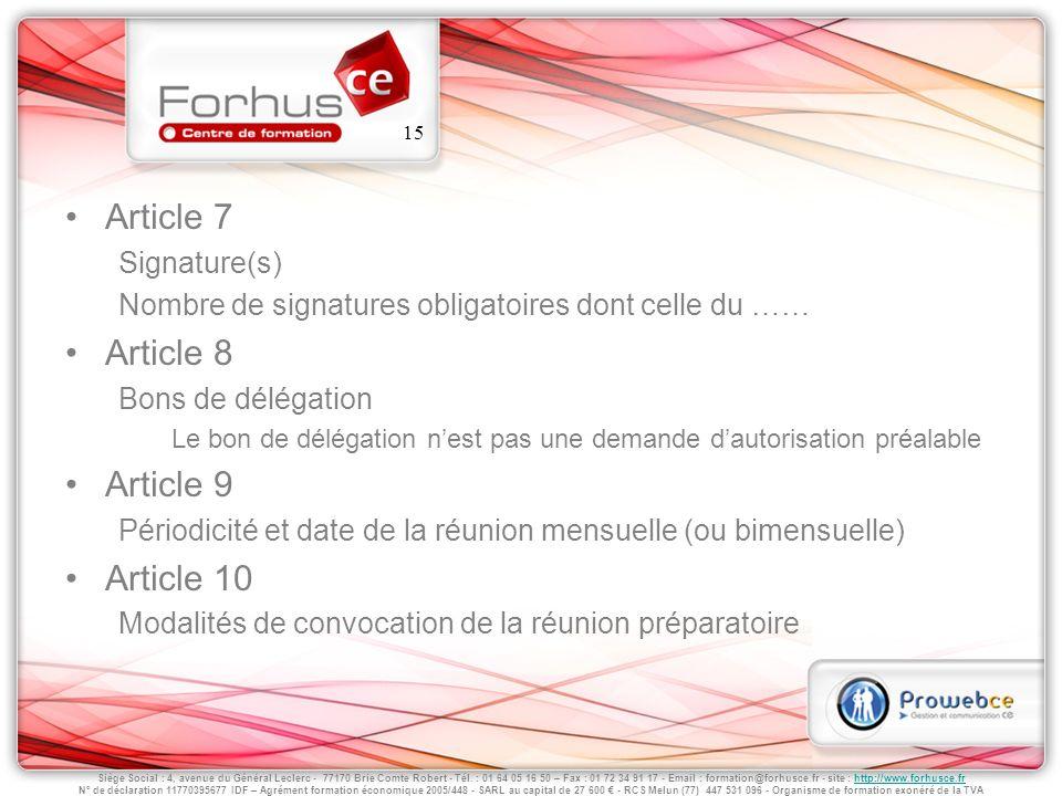 Article 7 Article 8 Article 9 Article 10 Signature(s)