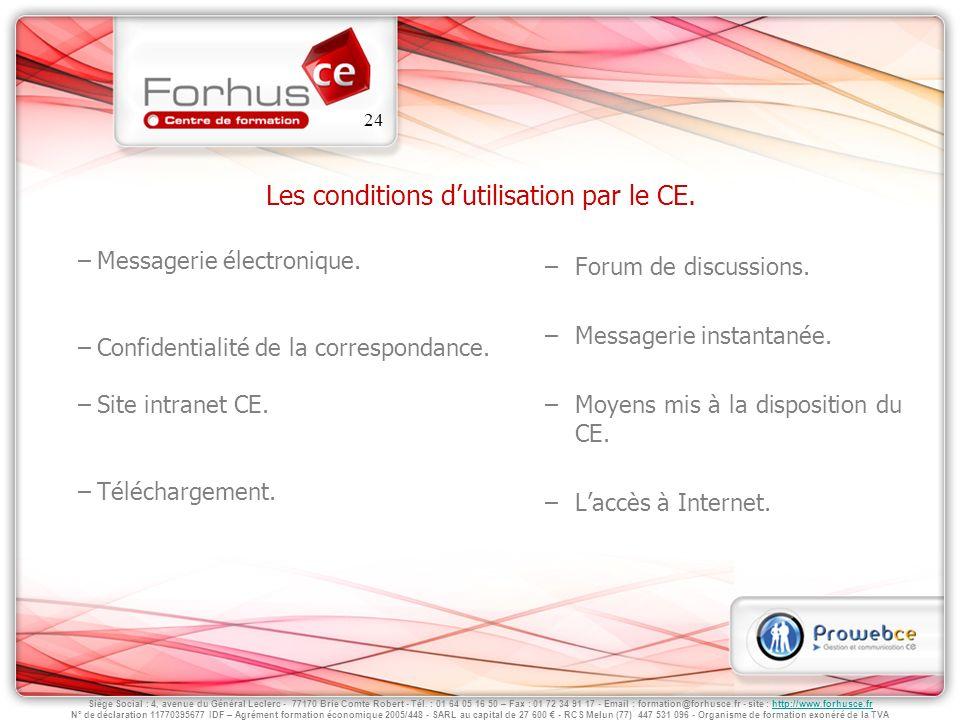 Les conditions d'utilisation par le CE.
