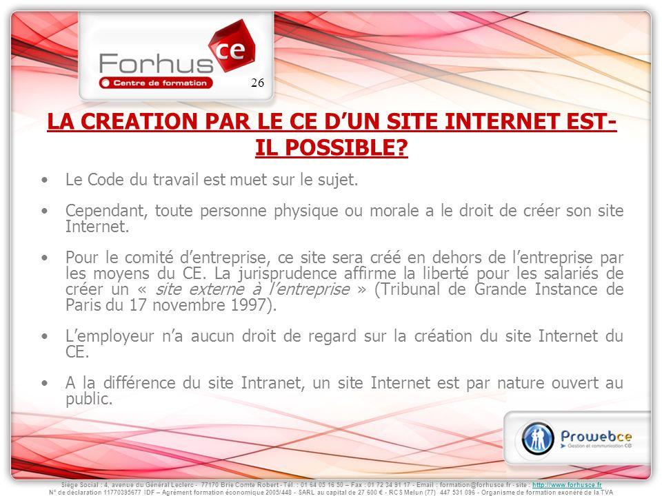 LA CREATION PAR LE CE D'UN SITE INTERNET EST-IL POSSIBLE