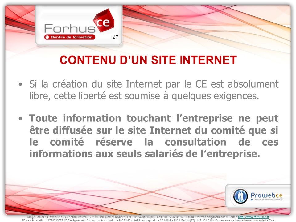 CONTENU D'UN SITE INTERNET