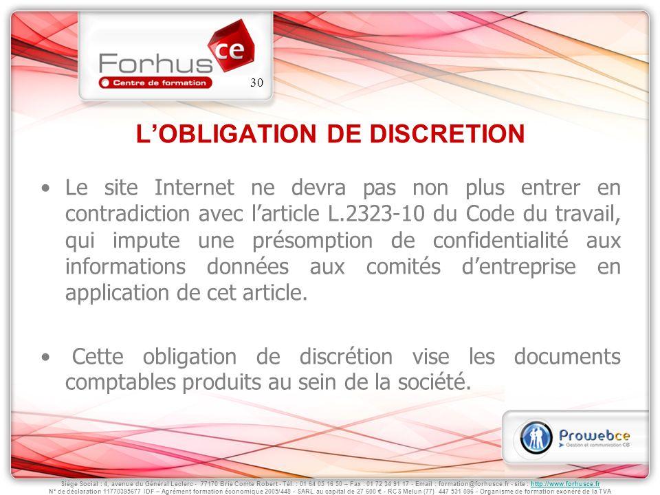 L'OBLIGATION DE DISCRETION