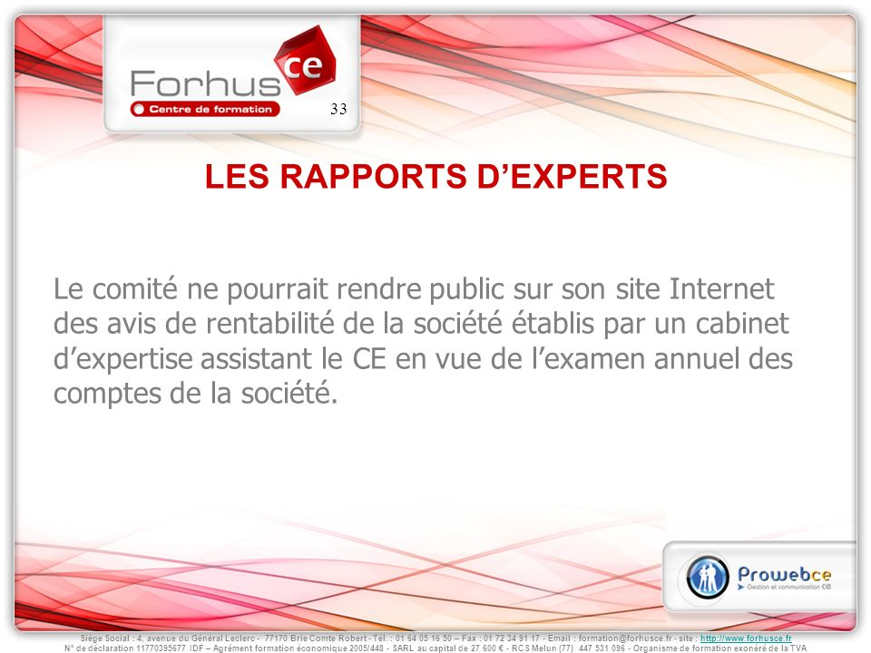 LES RAPPORTS D'EXPERTS