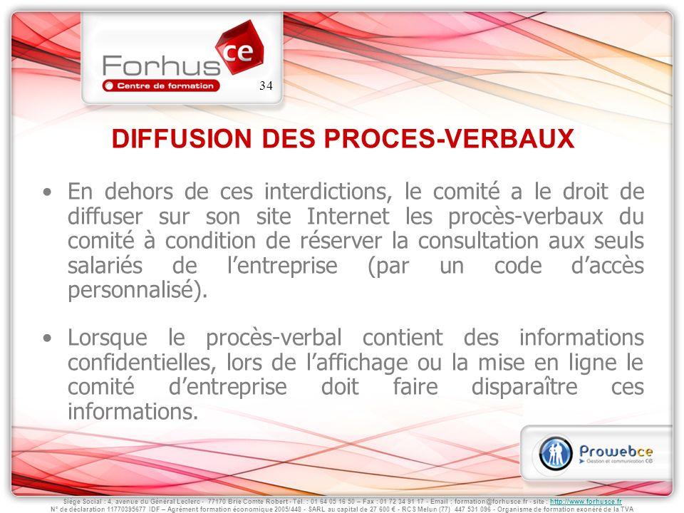 DIFFUSION DES PROCES-VERBAUX