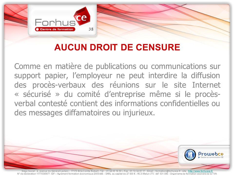 AUCUN DROIT DE CENSURE