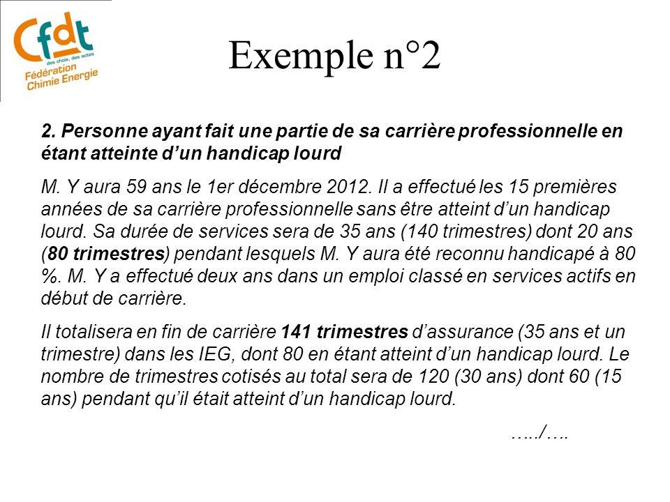 Exemple n°2 2. Personne ayant fait une partie de sa carrière professionnelle en étant atteinte d'un handicap lourd.