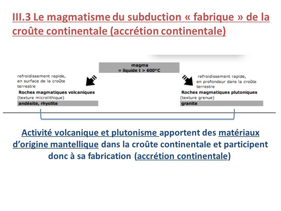 III.3 Le magmatisme du subduction « fabrique » de la croûte continentale (accrétion continentale)