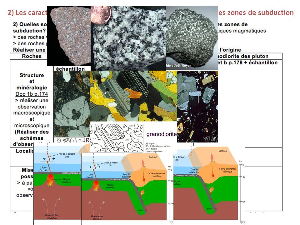 2) Les caractéristiques des roches volcaniques et magmatiques des zones de subduction