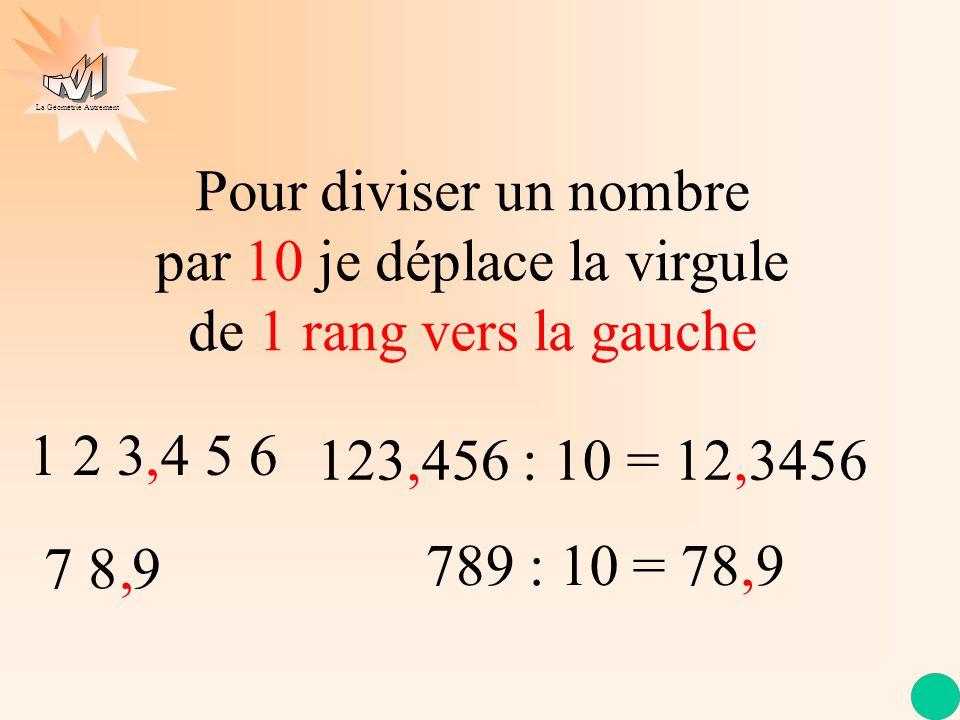 Pour diviser un nombre par 10 je déplace la virgule