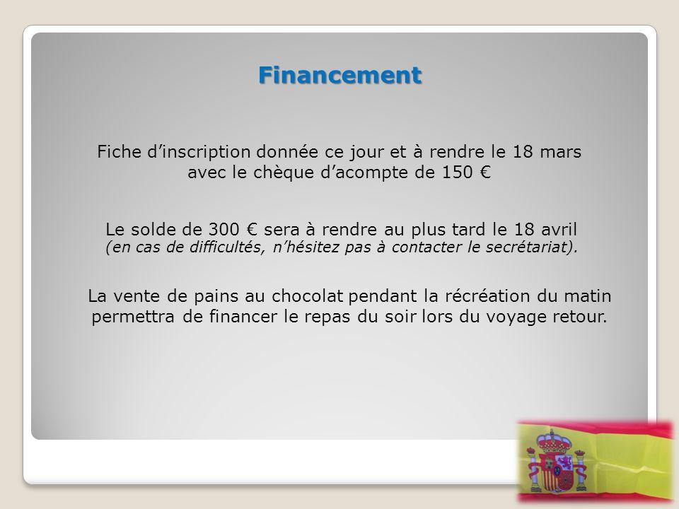 Financement Fiche d'inscription donnée ce jour et à rendre le 18 mars avec le chèque d'acompte de 150 €