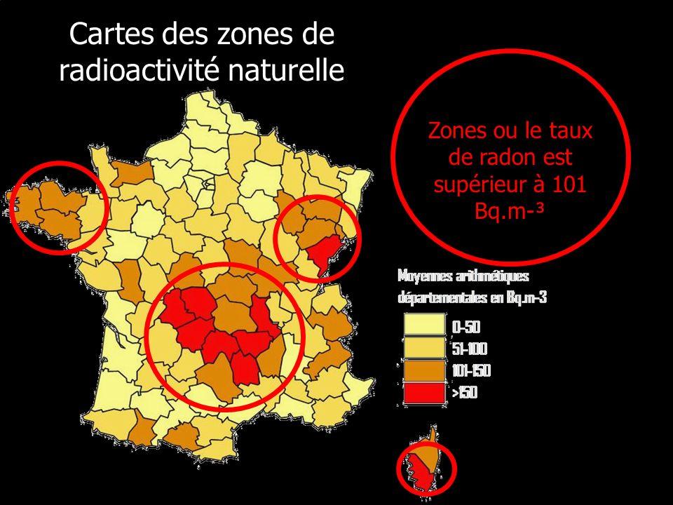 Cartes des zones de radioactivité naturelle