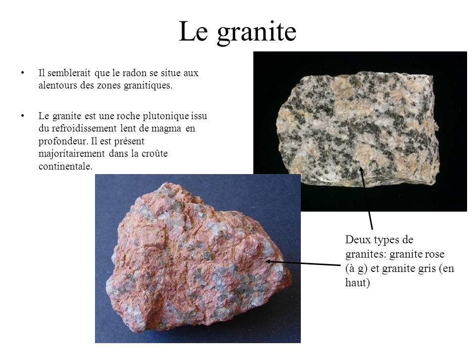 Le graniteIl semblerait que le radon se situe aux alentours des zones granitiques.