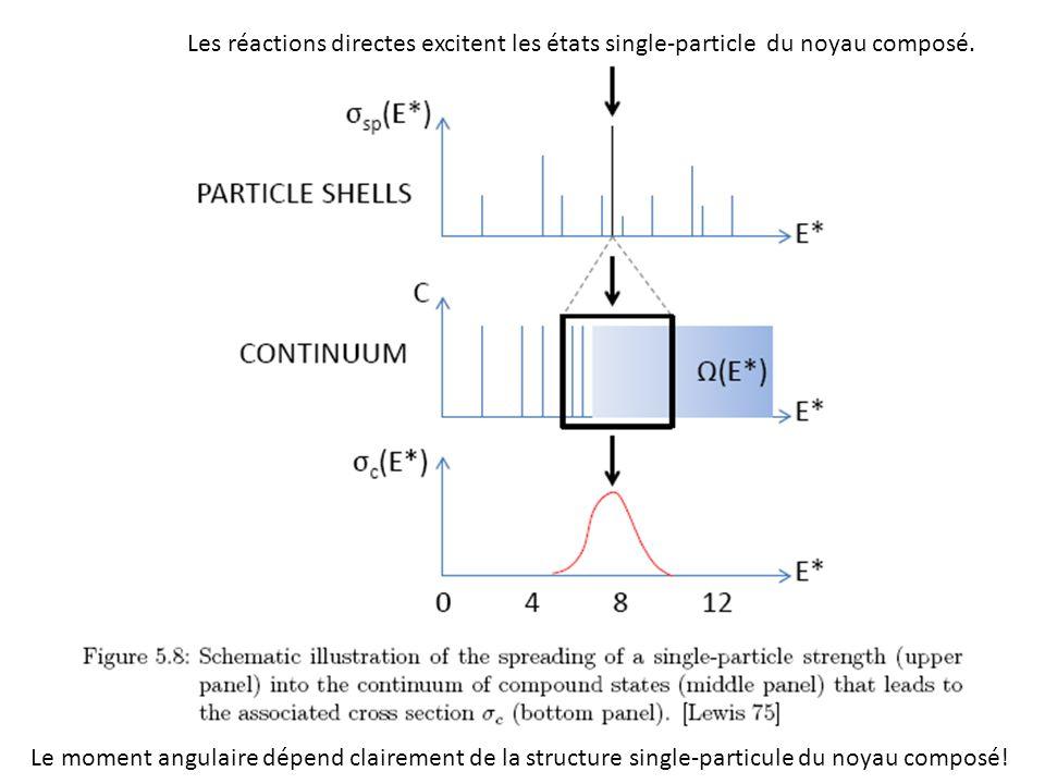 Les réactions directes excitent les états single-particle du noyau composé.