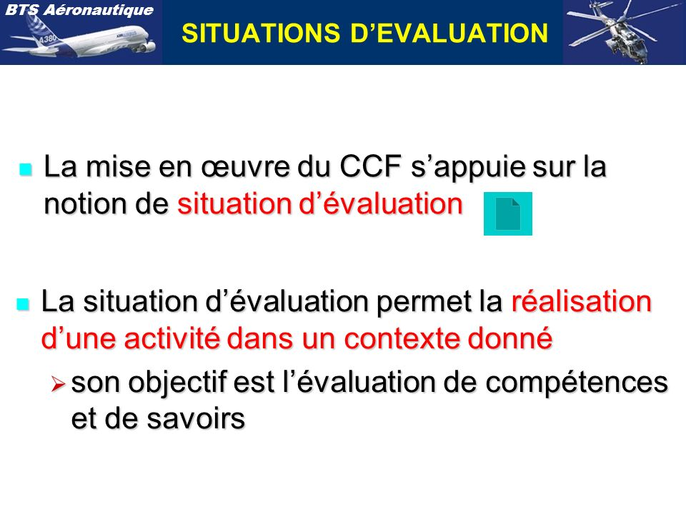SITUATIONS D'EVALUATION