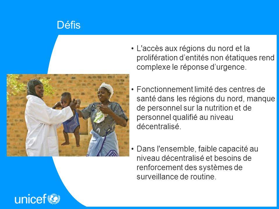 DéfisL accès aux régions du nord et la prolifération d'entités non étatiques rend complexe le réponse d'urgence.