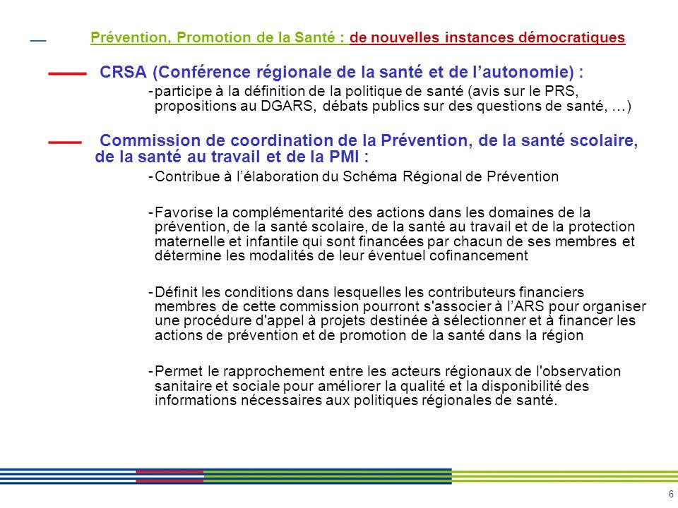 CRSA (Conférence régionale de la santé et de l'autonomie) :