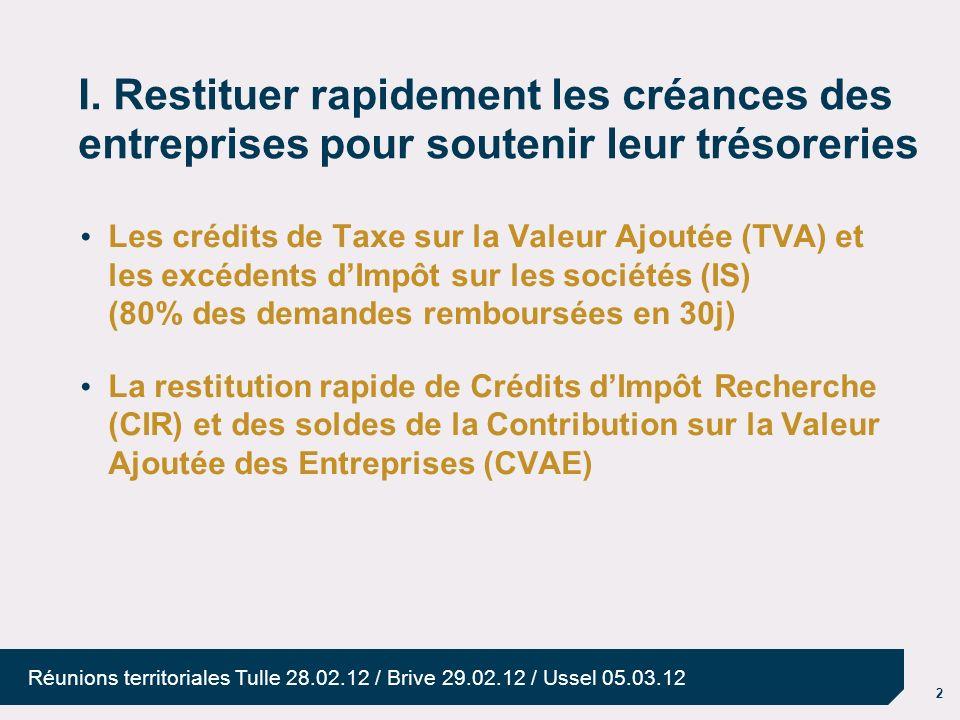 25/03/2017 I. Restituer rapidement les créances des entreprises pour soutenir leur trésoreries.