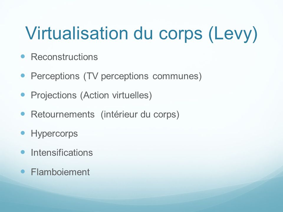 Virtualisation du corps (Levy)