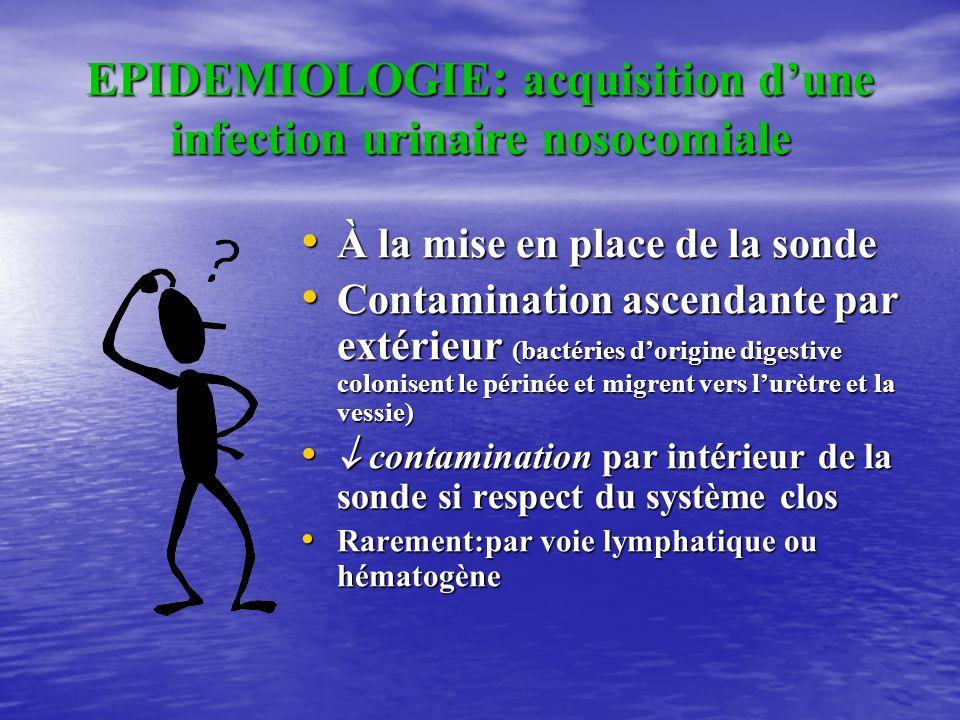 EPIDEMIOLOGIE: acquisition d'une infection urinaire nosocomiale