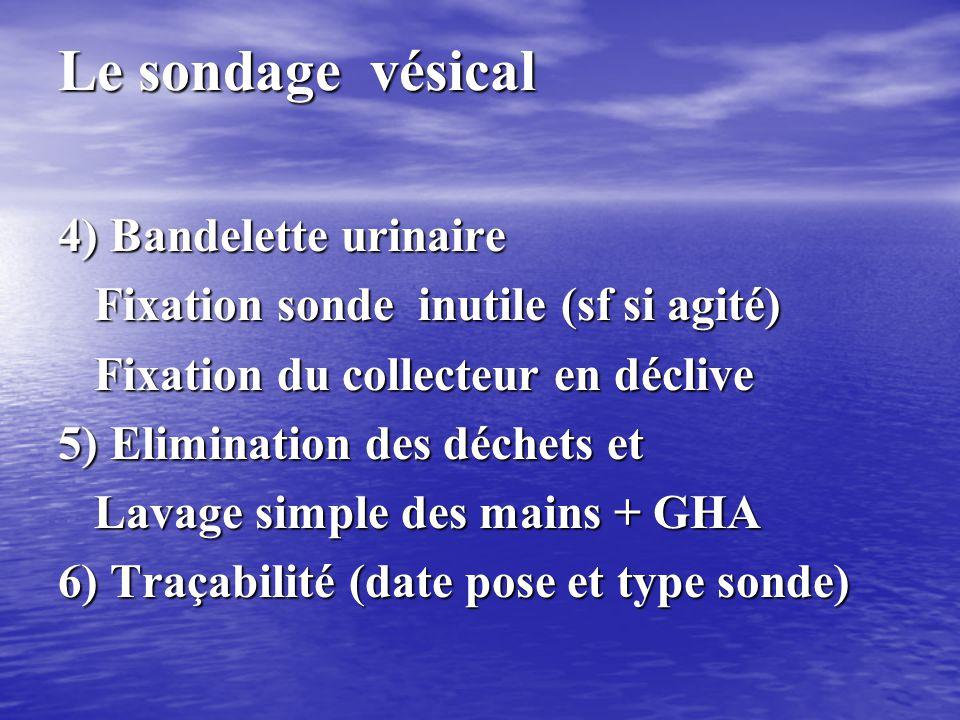 Le sondage vésical 4) Bandelette urinaire