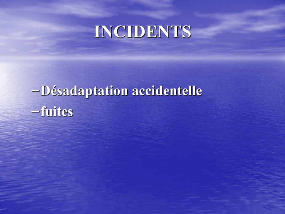 INCIDENTS Désadaptation accidentelle fuites