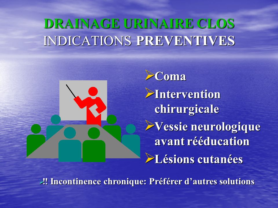 DRAINAGE URINAIRE CLOS INDICATIONS PREVENTIVES