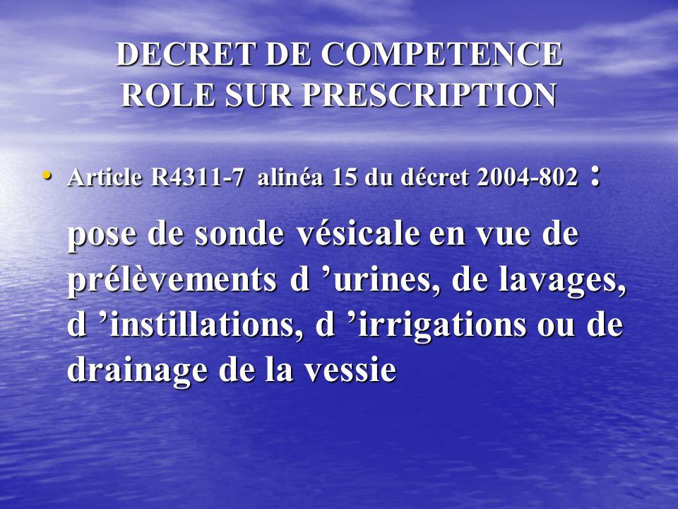 DECRET DE COMPETENCE ROLE SUR PRESCRIPTION