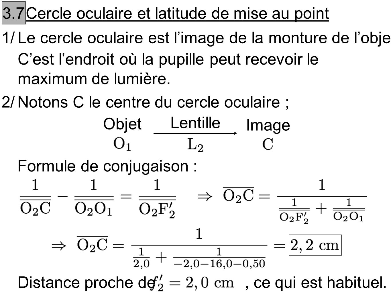 3.7 Cercle oculaire et latitude de mise au point. 1/ Le cercle oculaire est l'image de la monture de l'objectif.