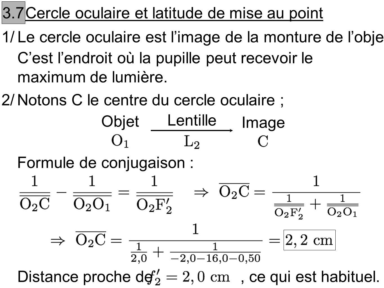 3.7Cercle oculaire et latitude de mise au point. 1/ Le cercle oculaire est l'image de la monture de l'objectif.