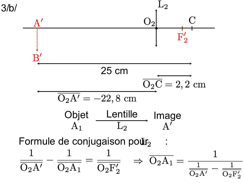 3/ b/ 25 cm Objet Lentille Image Formule de conjugaison pour :