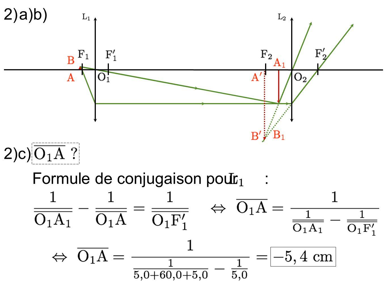2) a) b) 2)c) Formule de conjugaison pour :